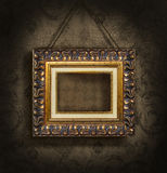 Gold Picture Frame On Antique Wallpaper Royalty Free Stock Photo