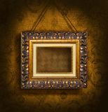 Gold Picture Frame On Antique Wallpaper Royalty Free Stock Photography