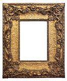 Gold Guilded Picture Frame. Gold Picture Frame Ornate Decorative Blank Vintage Retro Antique detailed scrolled brass royalty free stock images