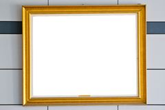 Gold picture frame.  over wall   background Stock Photo