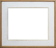 Gold Picture Frame. With a pale grey mat, isolated Royalty Free Stock Image