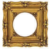 Gold Picture Frame. Traditional Gold Picture Frame Isolated on White Royalty Free Stock Image