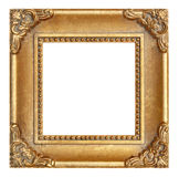 Gold Picture Frame. Traditional Gold Picture Frame Isolated on White Royalty Free Stock Photos