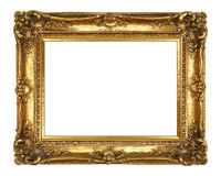 Gold Picture Frame. Traditional Gold Picture Frame Isolated on White Royalty Free Stock Photo