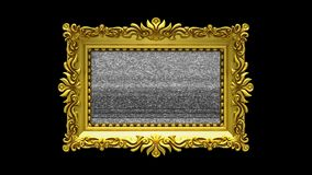 Luxury gold picture frame rotates on black background. Intro with tv noise and green screen, 3d animation. Gold picture frame with tv noise on black background stock video footage