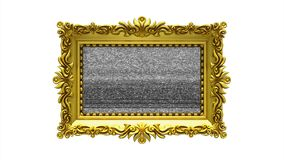 Luxury gold picture frame rotates on white background. Intro with tv noise and green screen, 3d animation. Gold picture frame with tv noise on white background stock footage