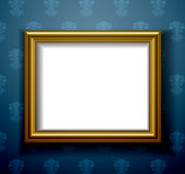 Gold picture frame on wall Stock Photos