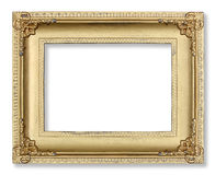 Gold picture frame on white Stock Photography