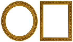 Gold picture frames stock photos