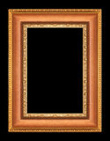 Gold picture frames on black Stock Image