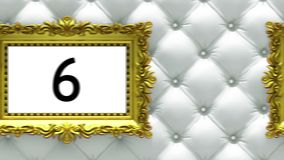 Countdown in gold picture frames on luxury white upholstery background. Mock-up for hit-parade, chart. 3D animation royalty free illustration