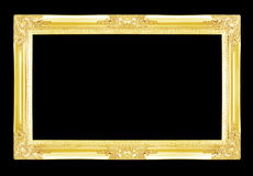 Gold picture frames. Isolated on black Stock Photography
