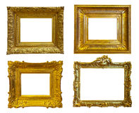 Gold picture frames. Isolated over white Stock Photo