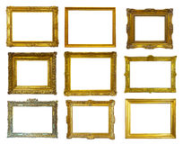 Gold picture frames. Isolated over white. Set of few gold picture frames. Isolated over white background with clipping path royalty free stock image