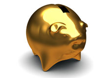Gold pig bank isolated on white Stock Photo