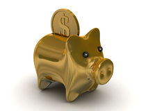 Gold pig a coin box. Isolated 3D image Stock Photography
