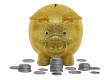 Gold Piggy Bank. Isolated Gold Piggy Bank and Coins Royalty Free Stock Photography