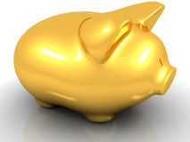 Gold piggy bank Stock Image