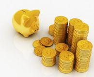Gold piggy bank Royalty Free Stock Photo