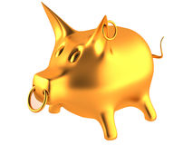 Gold piggy bank Royalty Free Stock Images