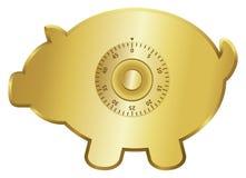 Gold piggy bank. Golden piggy bank icon with a combination lock Royalty Free Stock Photos