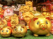Gold piggy bank, chinese new year . 2019 is year of the pig, Gold piggy bank, chinese new year stock image