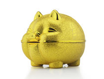 Gold piggy bank with clipping path Stock Photography
