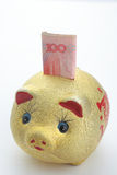 Gold Piggy Bank. Close-up gold piggy bank Royalty Free Stock Images