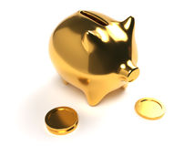 Gold Piggy Bank with Coins Stock Images