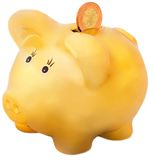Gold piggy bank. With money Royalty Free Stock Photography