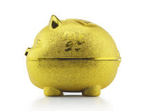 Gold piggy bank side view with clipping path. Gold piggy bank side view on white background with clipping path Royalty Free Stock Photography