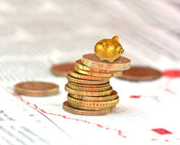 Gold piggy bank. With stack of coins Stock Photography