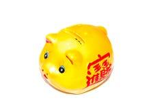 Gold piggy coin bank Royalty Free Stock Photos