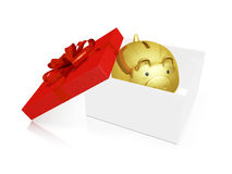 Gold Piggy Savings Bank in a Gift Box. A 3D illustration of a gold savings piggy bank inside a gift box with the open lid on the side, decorated with red bow and Royalty Free Stock Photography