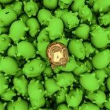 Gold piggybank among green ones. 3D render of golden piggybank on top of green ones Royalty Free Stock Images