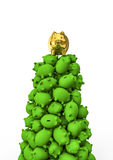 Gold piggybank on top. 3D render of golden piggybank on top of pile of green ones Royalty Free Stock Image