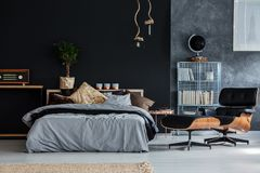 Guy bedroom with chaise lounge stock images