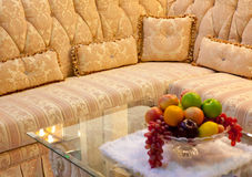 Gold pillow and sofa Stock Photo