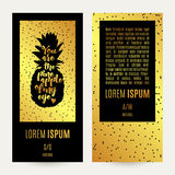 Gold pineapple banner Stock Photography