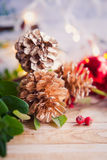 Gold pinecone, Christmas decorations Royalty Free Stock Images