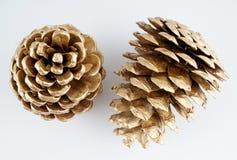 Golden pinecone. golden Christmas decoration. isolated on white background. Stock Photo