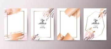 Gold, pink brochure, flyer, invitation, card. Wedding card design. Hand drawn background. Gold, pink brochure, flyer, invitation template. Business identity royalty free illustration