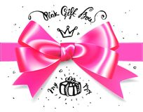Gold pink glamour gift bow. Bow for little princess gift, babygirl. It s a girl bow illustration Royalty Free Stock Photography