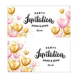 Gold Pink Heart balloon Invitation. Gold Heart balloon Invitation. Pink Heart balloon on background. Party decoration, event design, balloons for wedding Stock Photography