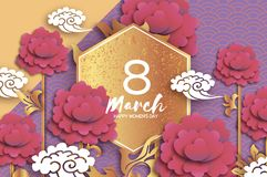 Gold Pink Peony Floral Greeting card in paper cut style. 8 March. Happy Women`s Mother`s Day. Origami chrysanthemum. Flower holiday on purple. Hexagon frame vector illustration