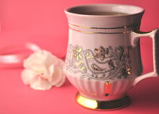 Gold and pink porcelain tea cup and saucer with artisan chocolate on bright fuchsia pink background with copy space Royalty Free Stock Image