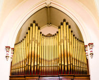 Gold Pipes on an Old Pipe Organ Stock Images