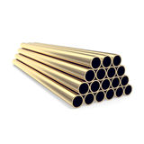 Gold pipes  on white background. 3d illustration Stock Photos