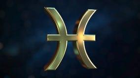 Gold Pisces Zodiac sign, 3D rendering. Gold Zodiac sign, part of the set. 3D vector illustration