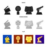 Gold pistol, silver prize for the best supporting role and other prizes.Movie awards set collection icons in black, flat. Monochrome style vector symbol stock Stock Photos
